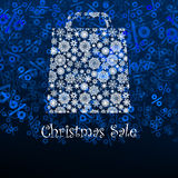 Christmas sale card with shopping bag. EPS 8 Stock Photos