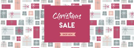 Christmas sale banner. christmas present background. vector illustration Royalty Free Stock Photo