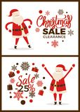 Christmas Sale Clearance -20 Vector Illustration. Christmas sale clearance -20 , set of posters with letterings, images of Santa Claus beside stickers with Royalty Free Illustration