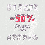 Christmas sale collection. Hand drawn numbers and Royalty Free Stock Photo