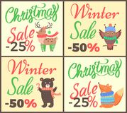 Christmas Sale -25 Collection Vector Illustration. Christmas sale -25 collection of posters depicting reindeer with green socks, owl and bear, fox wearing Stock Photos