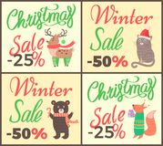 Christmas Sale -25 Collection Vector Illustration. Christmas sale -25 , advertising posters collection representing decorated title and reindeer, cat and bear Royalty Free Stock Images