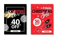 Christmas Sale Collection on Vector Illustration. Christmas sale, holiday discount -50 off, collection of banners that include frame, snowflakes and image of Stock Photography