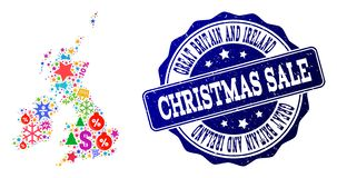 Christmas Sale Composition of Mosaic Map of Great Britain and Ireland and Scratched Stamp vector illustration