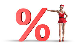 Christmas sale concept. Christmas woman lean on sign percentage - concept of sale royalty free illustration