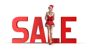 Christmas sale concept. Woman waiting for Christmas sale royalty free illustration