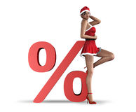 Christmas sale concept. Christmas woman lean on sign percentage - concept of sale stock illustration