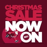 Christmas Sale Concept Design with running Santa royalty free stock image