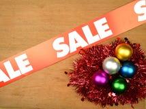 Christmas Sale Concept. Christmas ornament on wooden background. Christmas sale concept stock photos