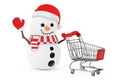 Christmas Sale Concept. Snowman in Santa Claus Hat Driven by a S. Hopping Cart on a white background. 3d Rendering Stock Images