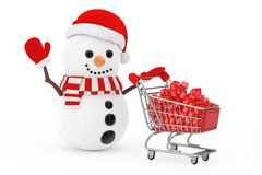 Christmas Sale Concept. Snowman in Santa Claus Hat Driven by a S. Hopping Cart with Red Discount Cubes on a white background. 3d Rendering Royalty Free Stock Photos