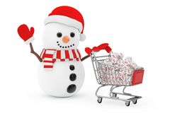 Christmas Sale Concept. Snowman in Santa Claus Hat Driven by a S. Hopping Cart with White Discount Cubes on a white background. 3d Rendering Stock Photography