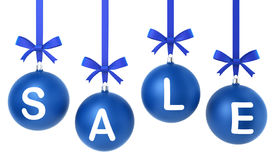 Christmas sale concept. Toys hanging on nice bows. 3d illustration on white background vector illustration