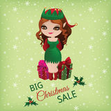 Christmas sale with cute elf Royalty Free Stock Photos