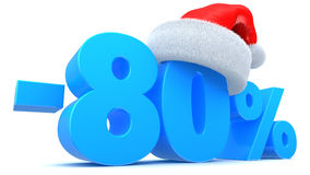 Christmas sale. 3d illustration of 80 percent Chistmas discount Royalty Free Stock Images