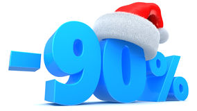 Christmas sale. 3d illustration of 90 percent Chistmas sale discount Stock Photography