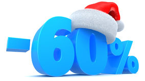 Christmas sale. 3d illustration of Christmas sale 60 percent discount Royalty Free Stock Photos