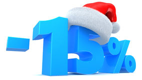 Christmas sale. 3d illustration of Christmas sale 15 percent discount symbol stock illustration