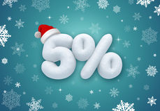 Christmas sale, 3d snow discount. Christmas sale label with 3d snow text Stock Image