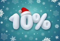 Christmas sale, 3d snow discount. Christmas sale label with 3d snow text Stock Photos