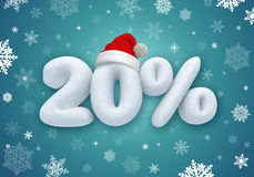 Christmas sale, 3d snow discount. Christmas sale label with 3d snow text Royalty Free Stock Photography