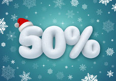 Christmas sale, 3d snow discount Stock Image
