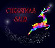 Christmas sale deer new year triangle Royalty Free Stock Images