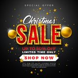 Christmas Sale Design with Ornamental Ball and Light Bulb Lettering on Black Background. Holiday Vector Illustration stock illustration