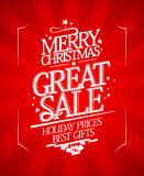 Christmas sale design in retro style. Royalty Free Stock Photo