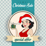 Christmas sale design with sexy Santa girl Stock Photography