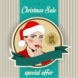 Christmas sale design with sexy Santa girl Stock Images