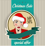 Christmas sale design with sexy Santa girl Stock Photos