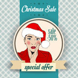 Christmas sale design with sexy Santa girl Stock Photo