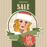 Christmas sale design with sexy Santa girl Royalty Free Stock Image