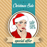 Christmas sale design with sexy Santa girl Royalty Free Stock Images