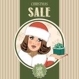 Christmas sale design with sexy Santa girl Royalty Free Stock Photo