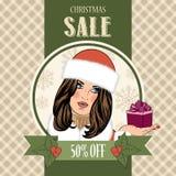 Christmas sale design with sexy Santa girl Stock Photos