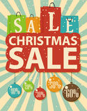 Christmas sale design with shopping bag and christmas balls Royalty Free Stock Photos