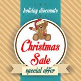 Christmas sale design with teddy bear Royalty Free Stock Images