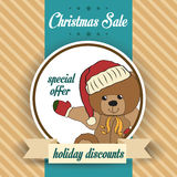 Christmas sale design with teddy bear Royalty Free Stock Photography