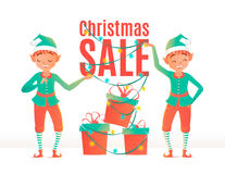 Christmas sale design template. Christmas elves. And gift boxes Stock Photos