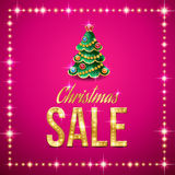 Christmas sale. Design of Christmas sale template. Gold text and Christmas tree on pink background Royalty Free Stock Image