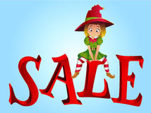 Christmas sale design template. Santa Claus elf helper sitting on the letter S. New Year Sale. Christmas Discount horizontal banner with Smiling Happy Santas Stock Photos