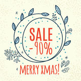 Christmas sale design template web banner. Discount, sale web banner with Christmas wreath. Hand drawn stock images