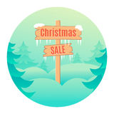 Christmas sale design template with wooden signboard. Vector illustration Royalty Free Stock Image