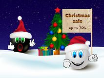 Christmas sale discount banner, shopping poster with two funny emoticons Royalty Free Stock Photography