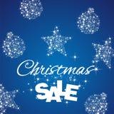 Christmas Sale discount blue background. Star ball stardust vector Stock Photos