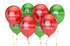 Christmas sale and discount concept with colored balloons. 3D Royalty Free Stock Photo