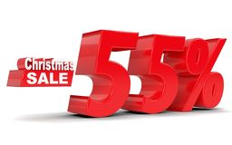 Christmas sale. Discount fifty five percent off. 3D rendering Stock Photos