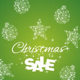Christmas Sale discount green background. Star ball stardust vector Royalty Free Stock Image